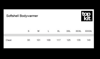 Bodywarmer Size Chart