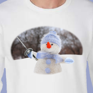 Winter epee fencing snowman