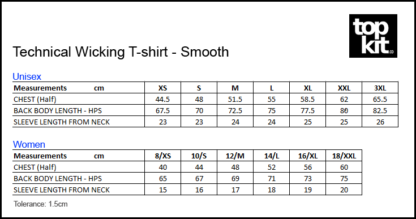 Size Wicking T-shirt - Smooth