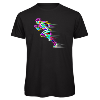 Sprinting runner in bright colour